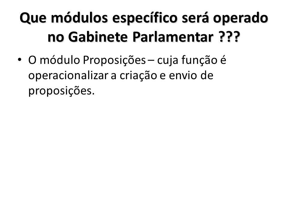 Que módulos específico será operado no Gabinete Parlamentar