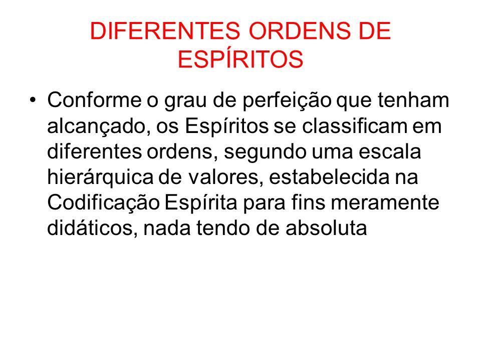 DIFERENTES ORDENS DE ESPÍRITOS