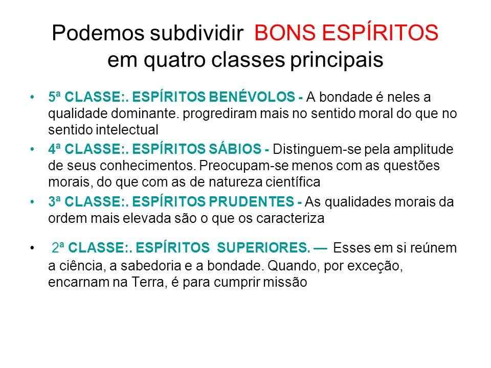 Podemos subdividir BONS ESPÍRITOS em quatro classes principais