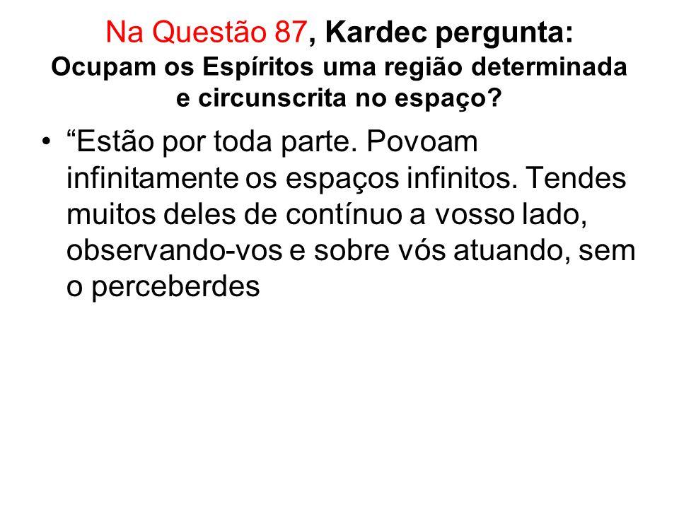Na Questão 87, Kardec pergunta: Ocupam os Espíritos uma região determinada e circunscrita no espaço