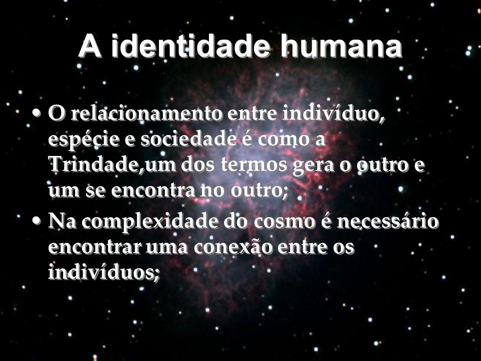 A identidade humana O relacionamento entre indivíduo, espécie e sociedade é como a Trindade,um dos termos gera o outro e um se encontra no outro;