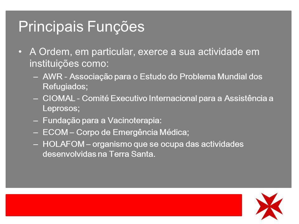Principais Funções A Ordem, em particular, exerce a sua actividade em instituições como: