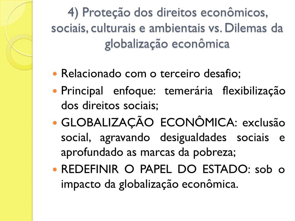 4) Proteção dos direitos econômicos, sociais, culturais e ambientais vs. Dilemas da globalização econômica