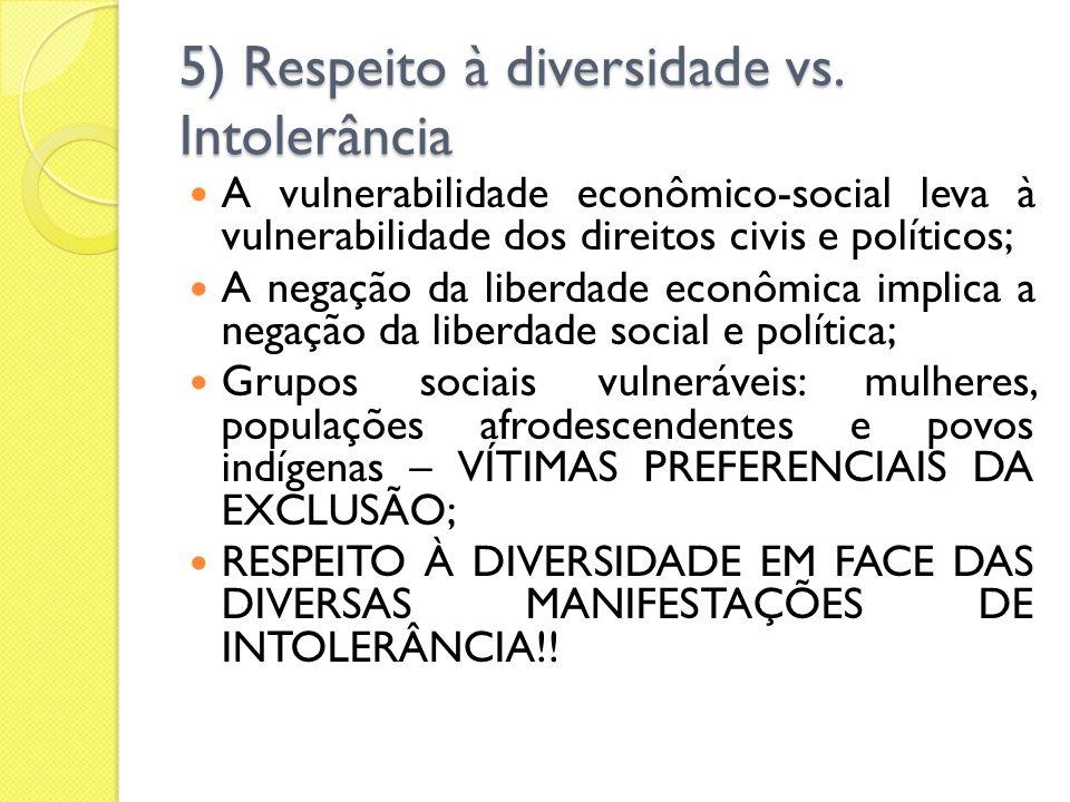 5) Respeito à diversidade vs. Intolerância