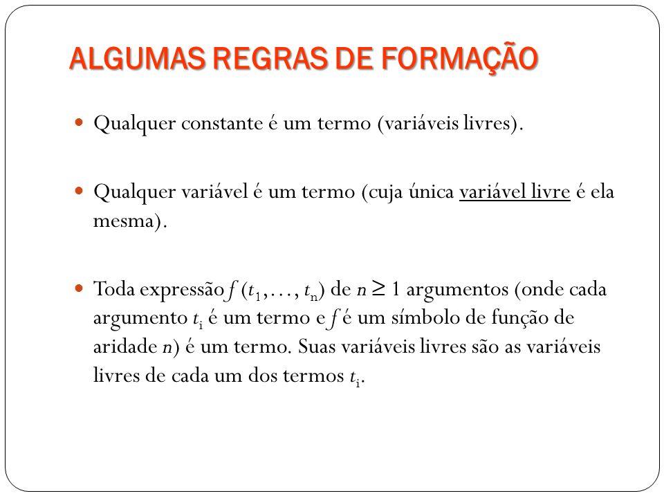 ALGUMAS REGRAS DE FORMAÇÃO