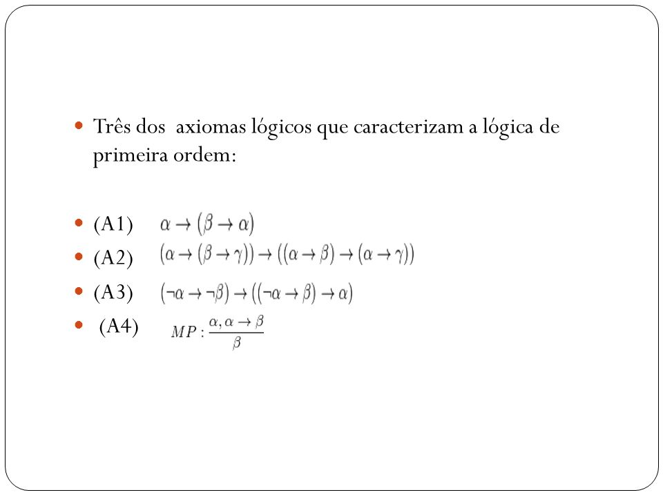Três dos axiomas lógicos que caracterizam a lógica de primeira ordem: