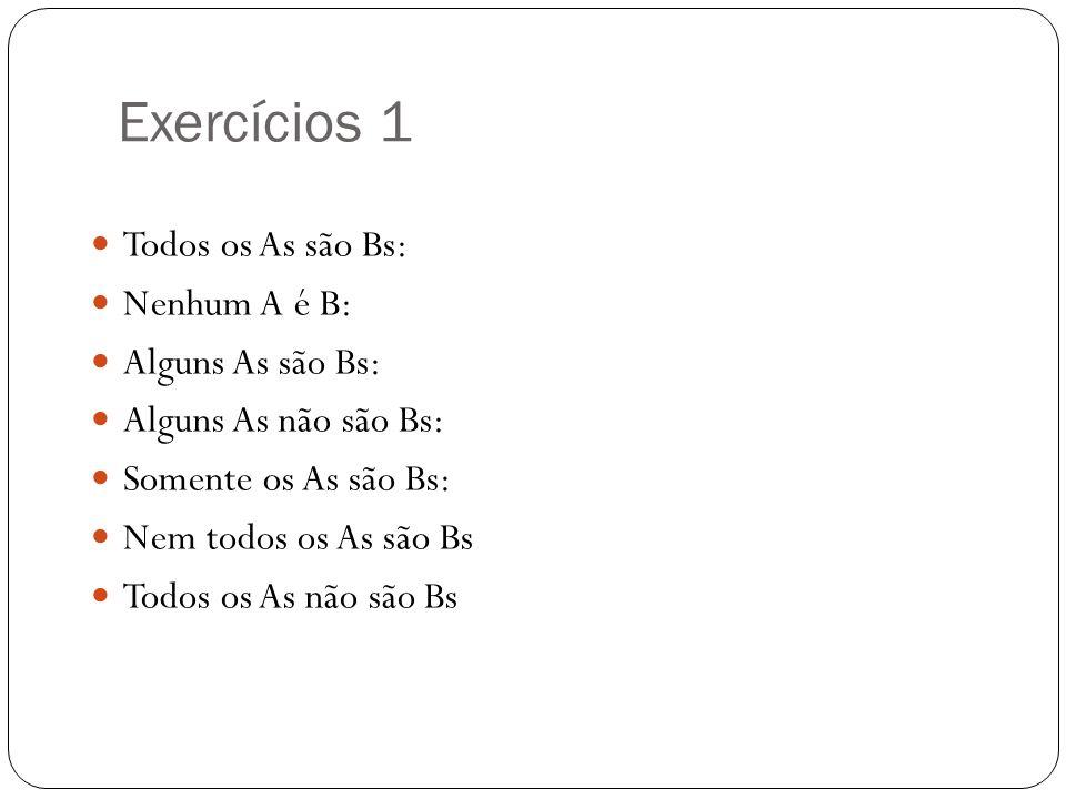 Exercícios 1 Todos os As são Bs: Nenhum A é B: Alguns As são Bs: