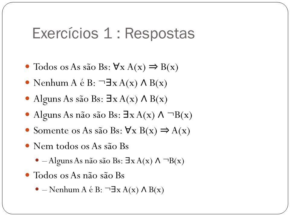 Exercícios 1 : Respostas