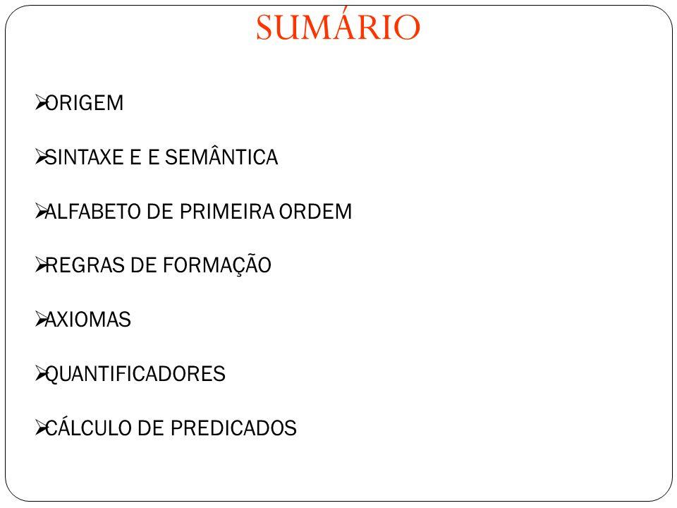 SUMÁRIO SUMÁRIO ORIGEM SINTAXE E E SEMÂNTICA