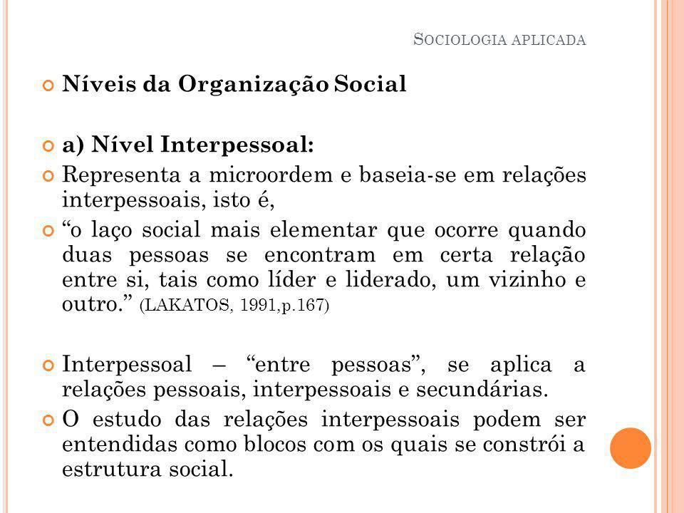 Níveis da Organização Social a) Nível Interpessoal: