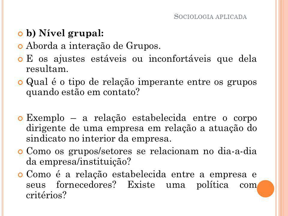 Aborda a interação de Grupos.