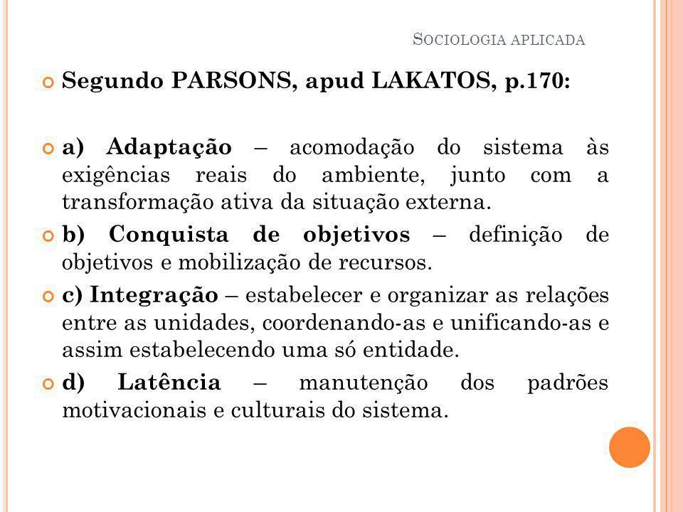 Segundo PARSONS, apud LAKATOS, p.170: