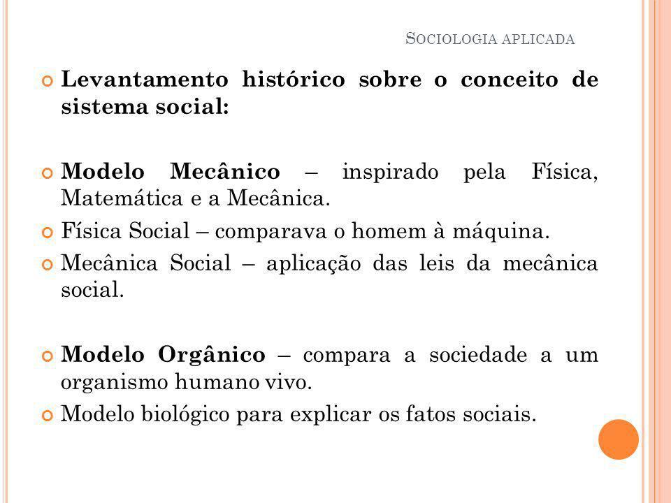 Levantamento histórico sobre o conceito de sistema social: