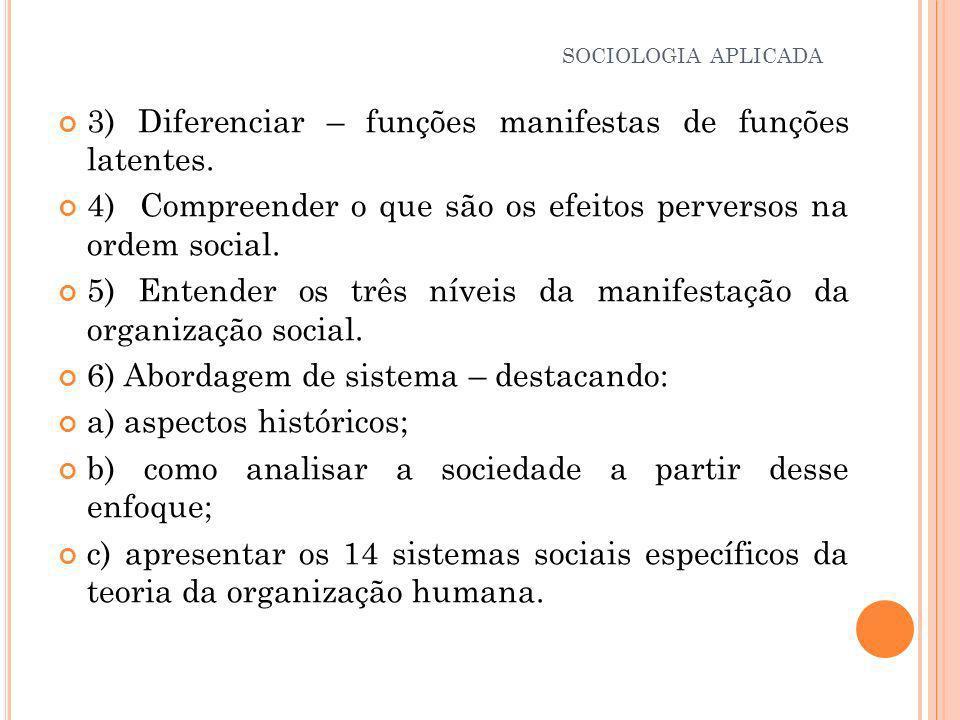3) Diferenciar – funções manifestas de funções latentes.