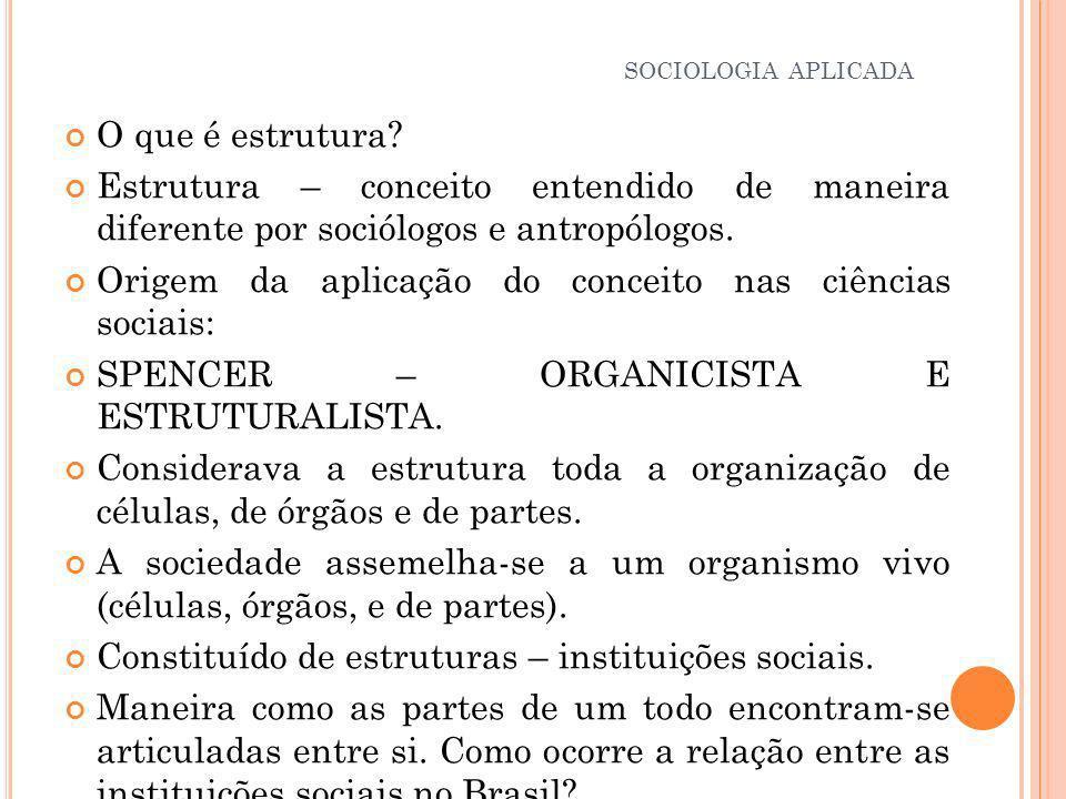 Origem da aplicação do conceito nas ciências sociais: