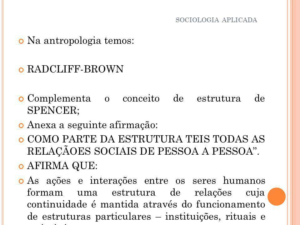 Na antropologia temos: RADCLIFF-BROWN