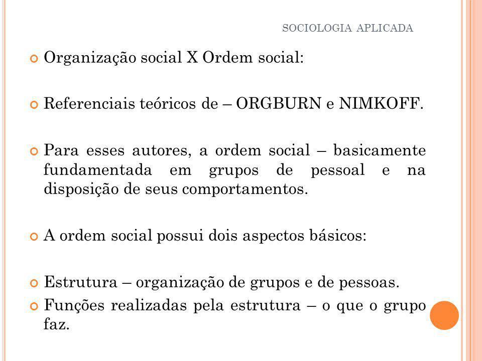 Organização social X Ordem social: