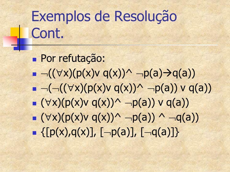 Exemplos de Resolução Cont.