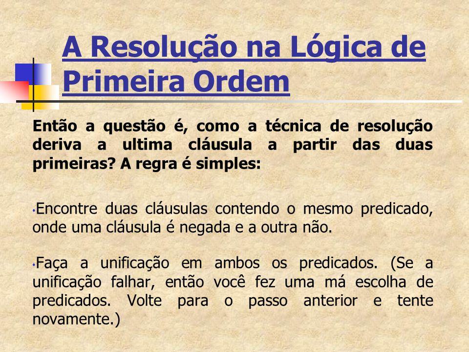 A Resolução na Lógica de Primeira Ordem