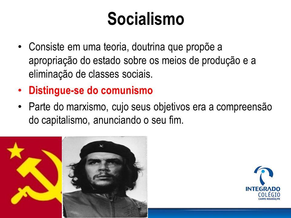 Socialismo Consiste em uma teoria, doutrina que propõe a apropriação do estado sobre os meios de produção e a eliminação de classes sociais.