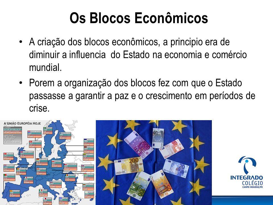 Os Blocos Econômicos A criação dos blocos econômicos, a principio era de diminuir a influencia do Estado na economia e comércio mundial.