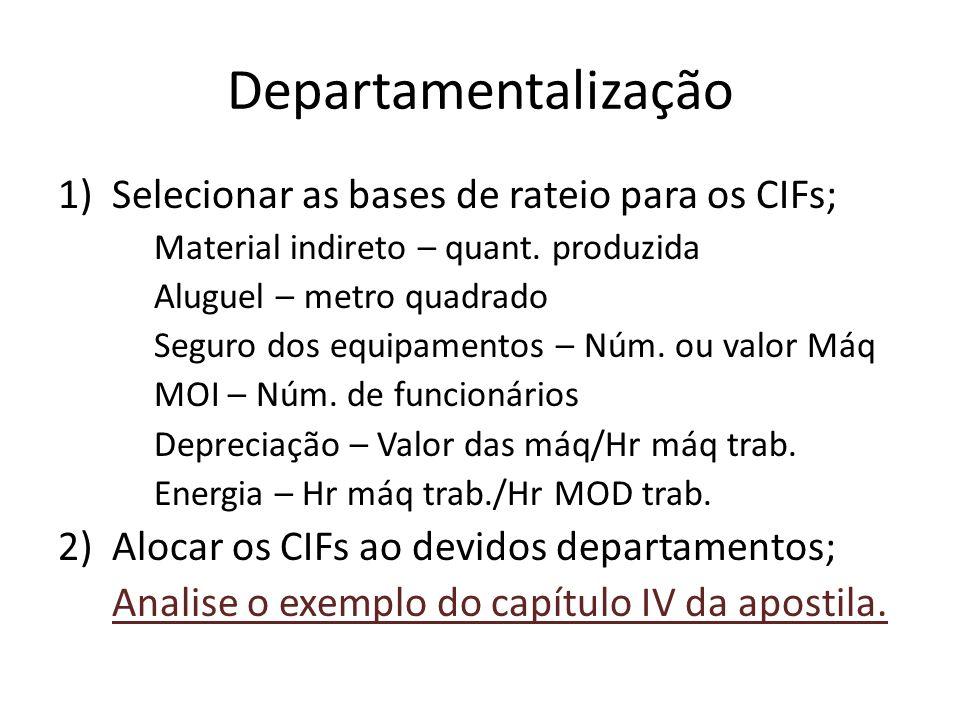 Departamentalização Selecionar as bases de rateio para os CIFs;