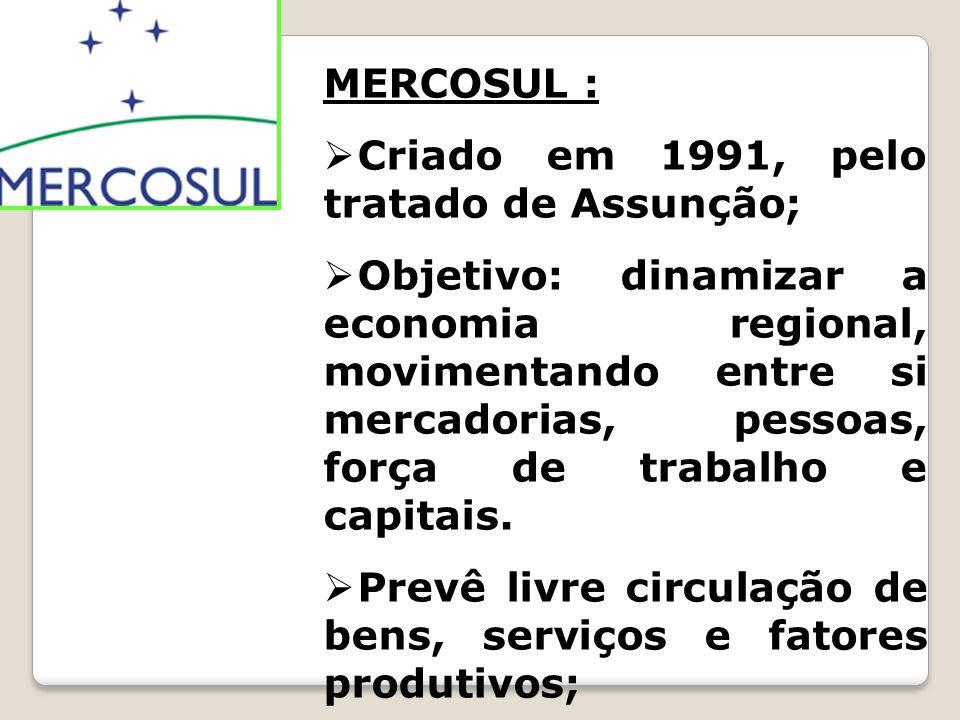 MERCOSUL : Criado em 1991, pelo tratado de Assunção;