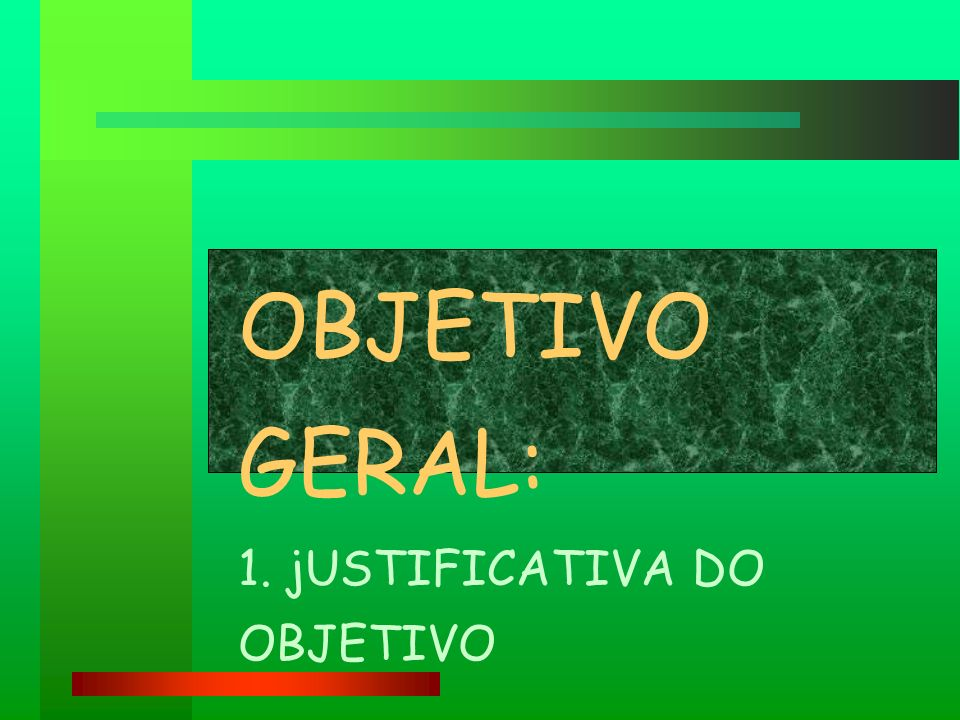 OBJETIVO GERAL: 1. jUSTIFICATIVA DO OBJETIVO
