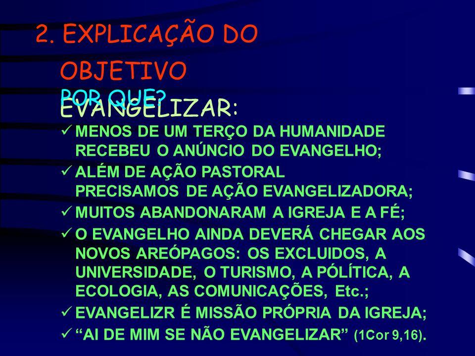 2. EXPLICAÇÃO DO OBJETIVO EVANGELIZAR: