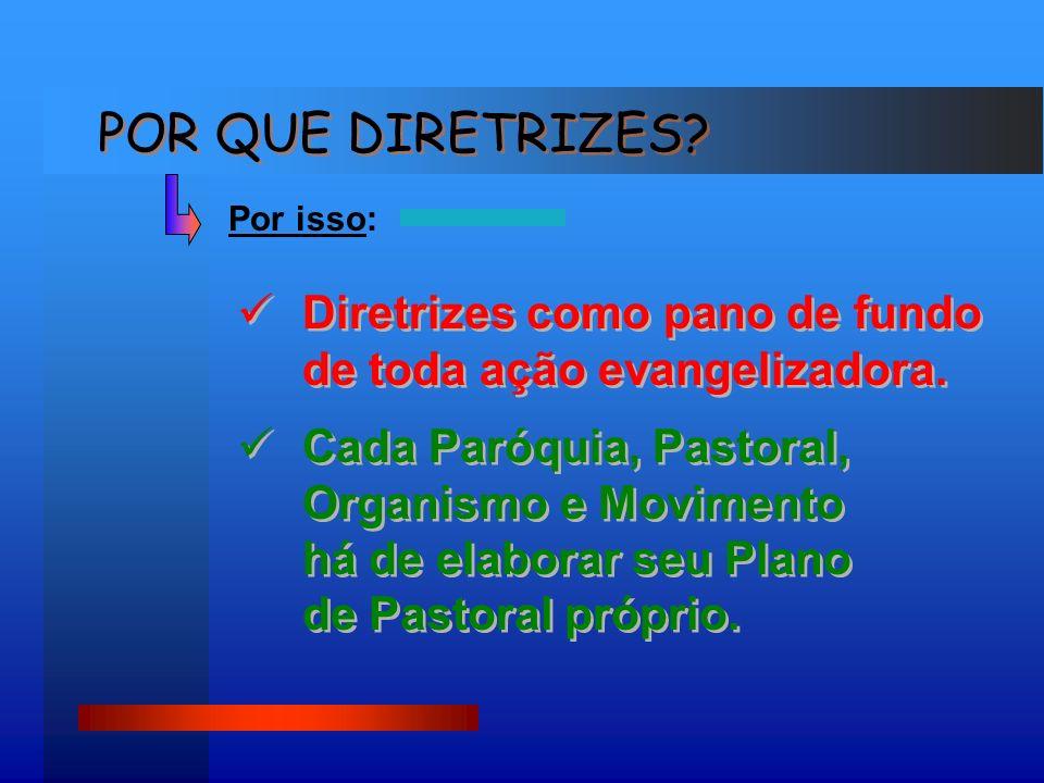 POR QUE DIRETRIZES Por isso: Diretrizes como pano de fundo de toda ação evangelizadora.
