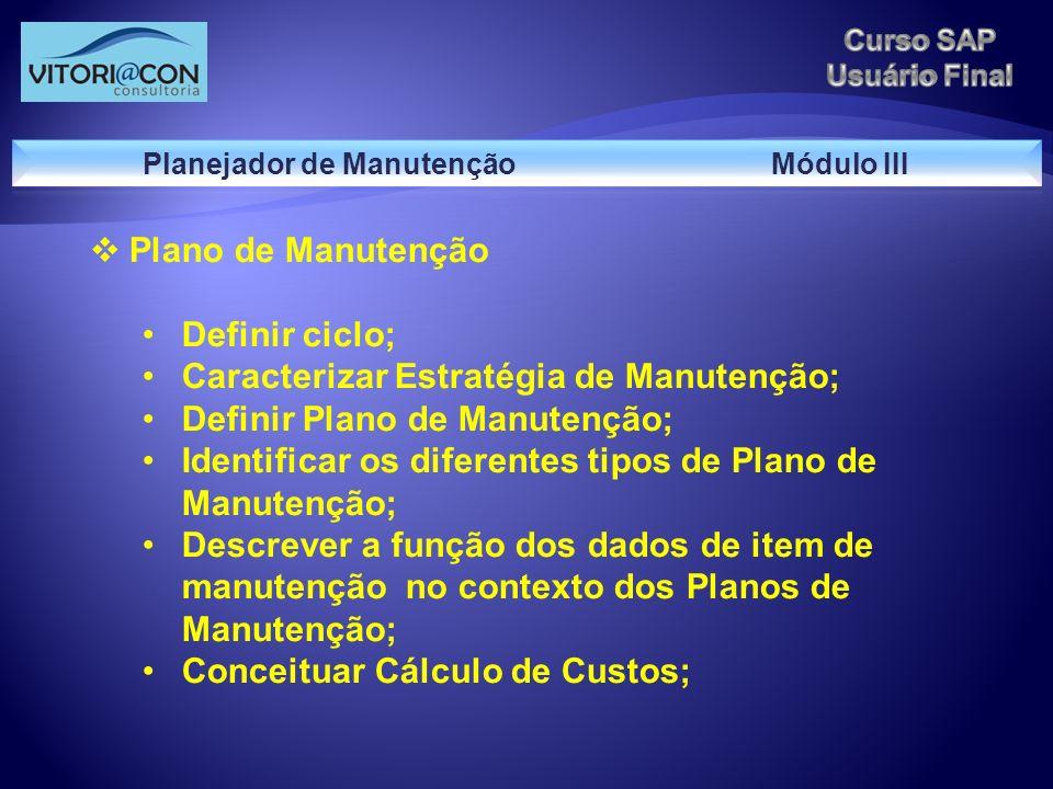 Planejador de Manutenção Módulo III
