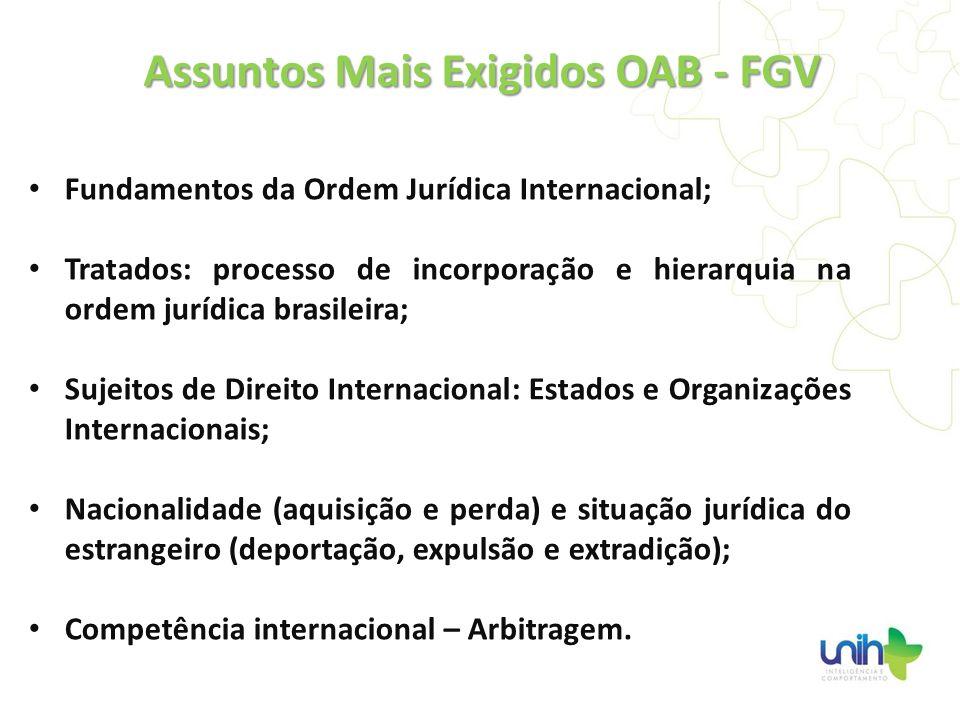 Assuntos Mais Exigidos OAB - FGV