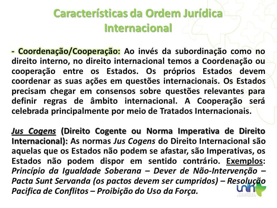 Características da Ordem Jurídica Internacional