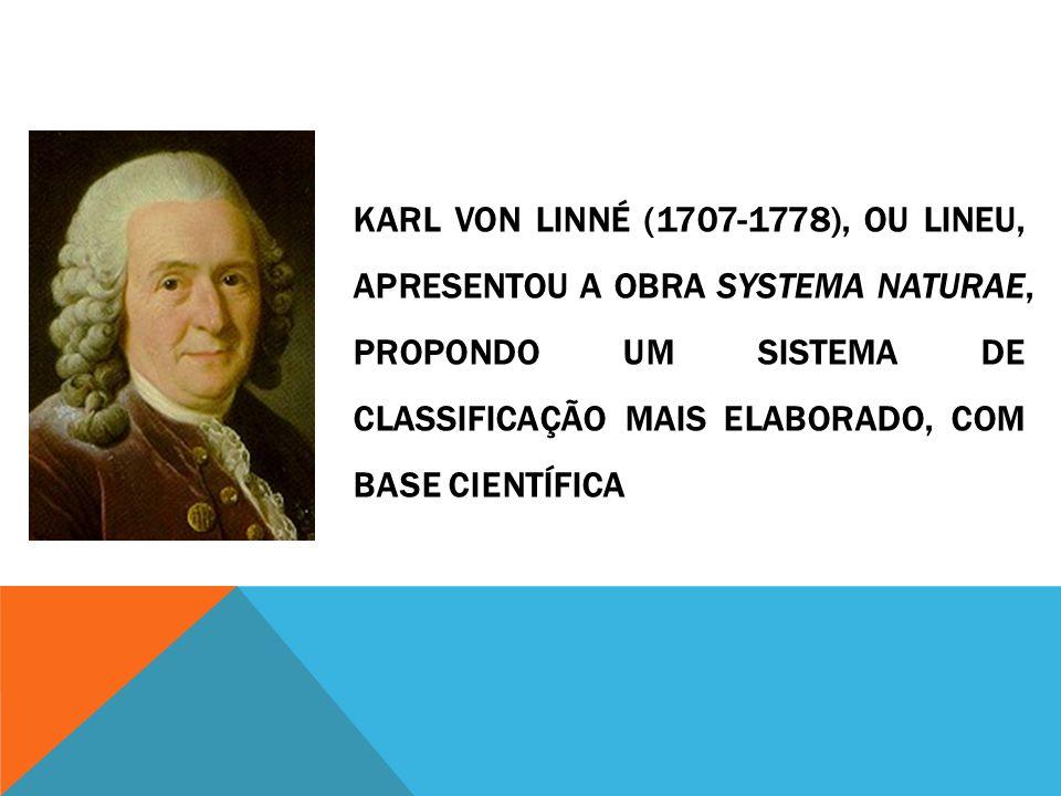 Karl Von Linné (1707-1778), ou Lineu, apresentou a obra Systema Naturae, propondo um sistema de classificação mais elaborado, com base científica