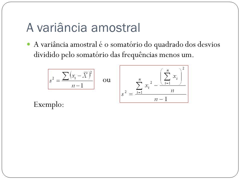 A variância amostral A variância amostral é o somatório do quadrado dos desvios dividido pelo somatório das frequências menos um.