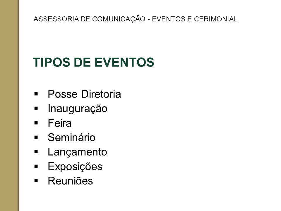 TIPOS DE EVENTOS Posse Diretoria Inauguração Feira Seminário