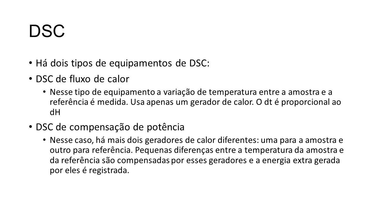 DSC Há dois tipos de equipamentos de DSC: DSC de fluxo de calor