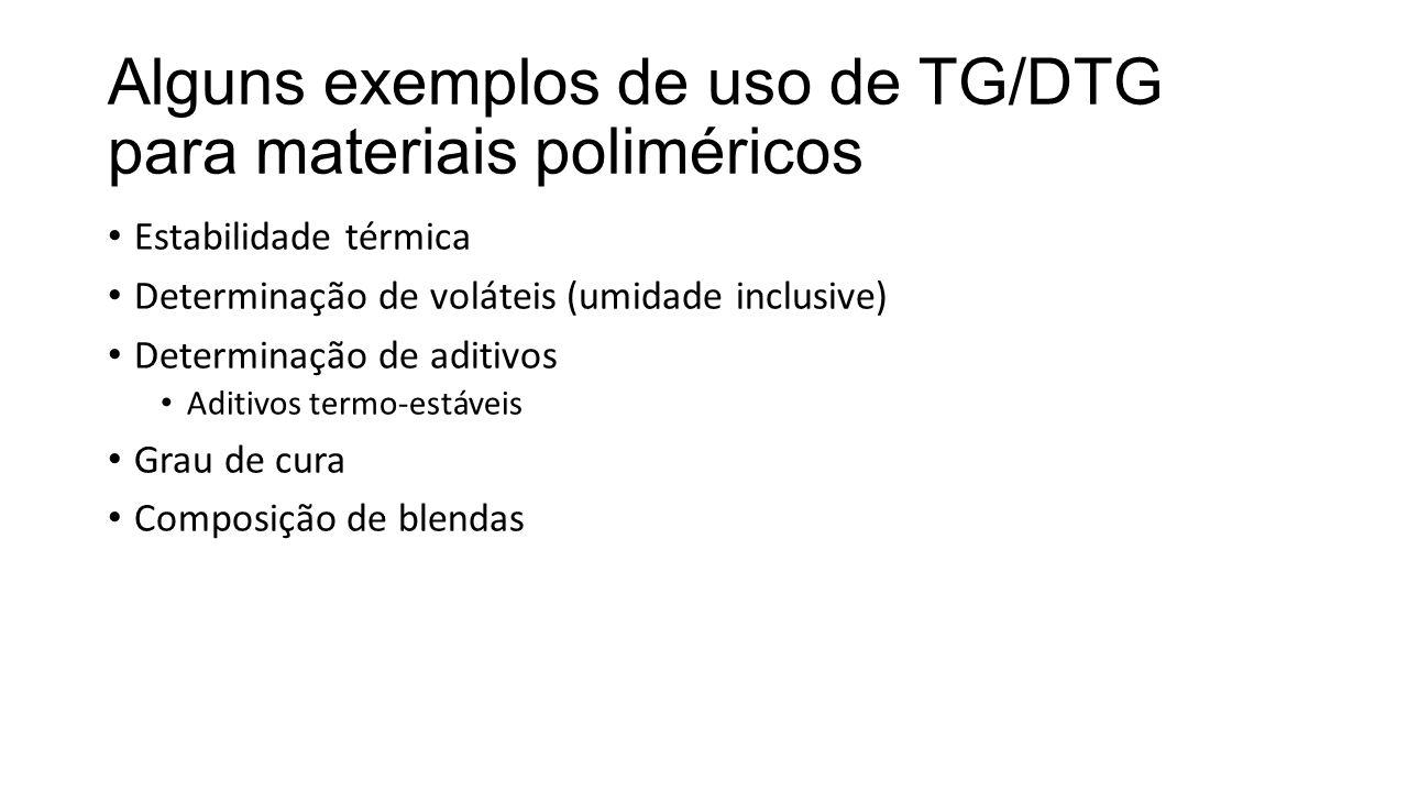 Alguns exemplos de uso de TG/DTG para materiais poliméricos
