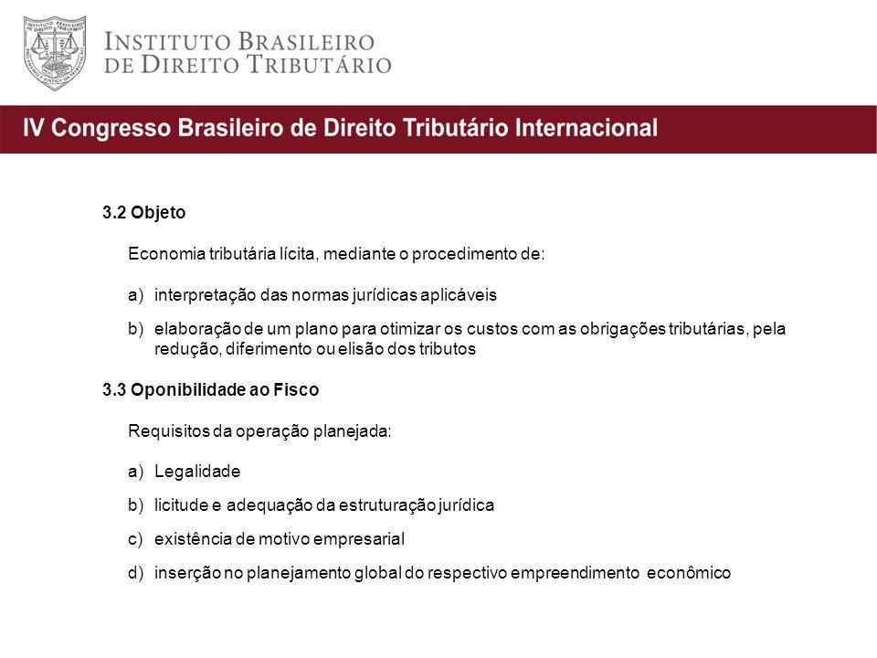 3.2 Objeto Economia tributária lícita, mediante o procedimento de: interpretação das normas jurídicas aplicáveis.