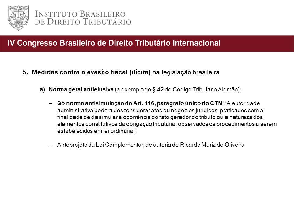 5. Medidas contra a evasão fiscal (ilícita) na legislação brasileira