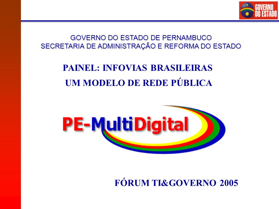 PAINEL: INFOVIAS BRASILEIRAS UM MODELO DE REDE PÚBLICA
