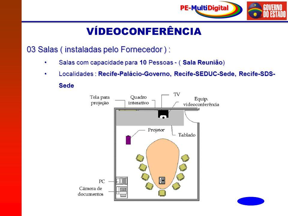 VÍDEOCONFERÊNCIA 03 Salas ( instaladas pelo Fornecedor ) :