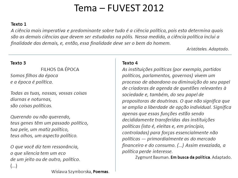 Tema – FUVEST 2012 Texto 1.