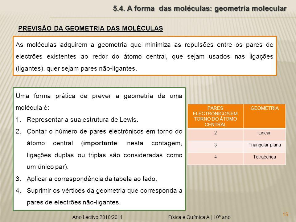 5.4. A forma das moléculas: geometria molecular
