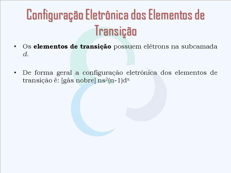 Configuração Eletrônica dos Elementos de Transição