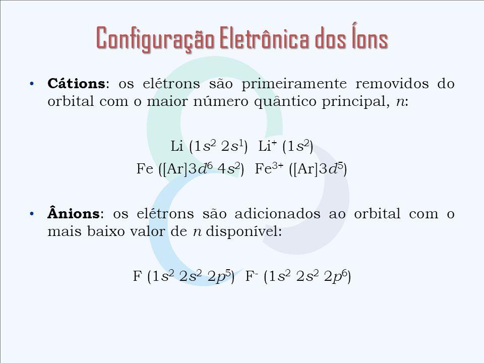 Configuração Eletrônica dos Íons