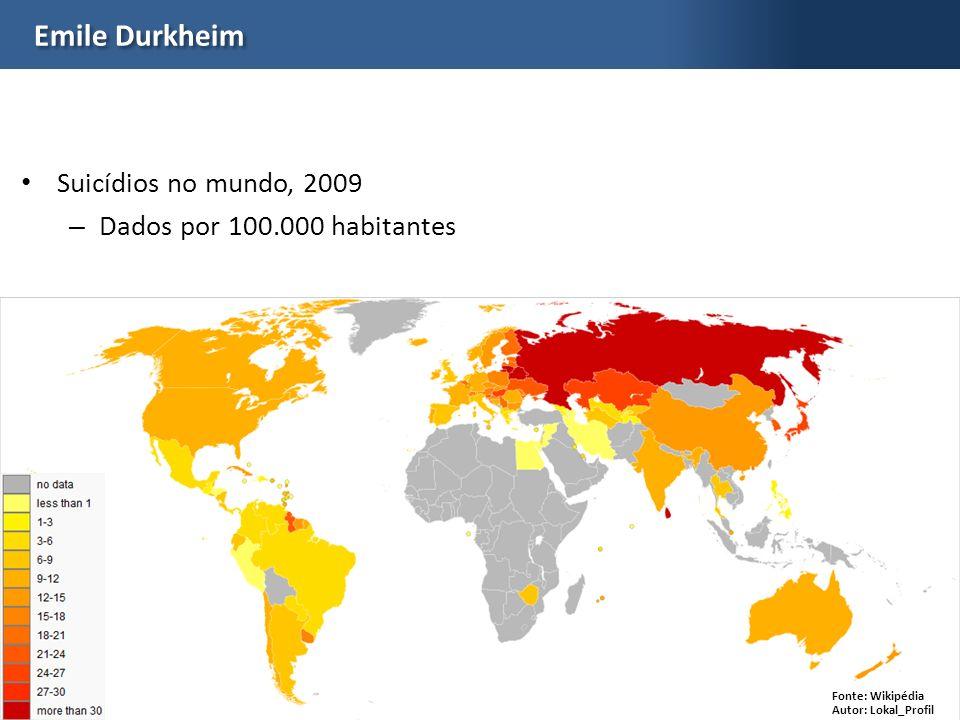 Emile Durkheim Suicídios no mundo, 2009 Dados por 100.000 habitantes