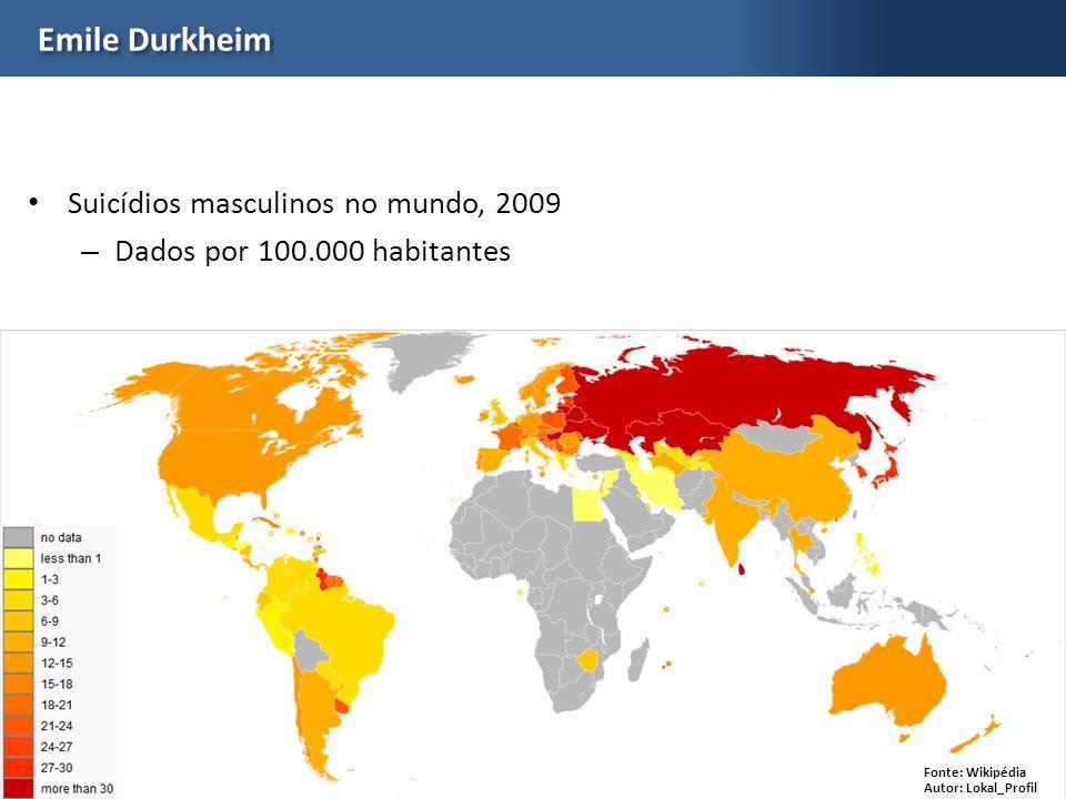 Emile Durkheim Suicídios masculinos no mundo, 2009