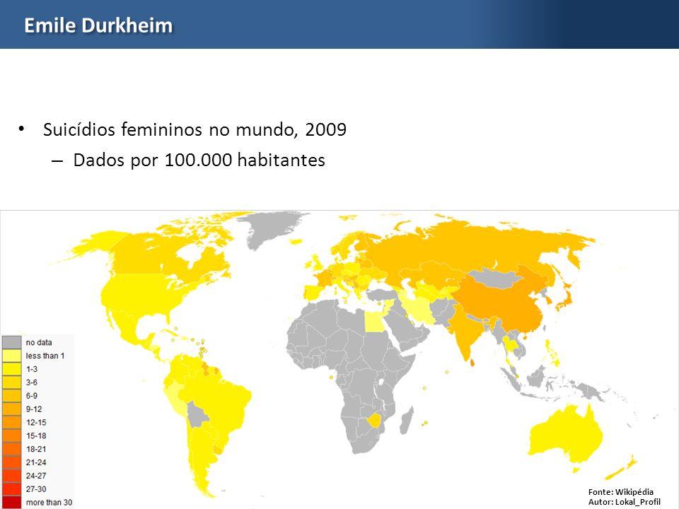 Emile Durkheim Suicídios femininos no mundo, 2009