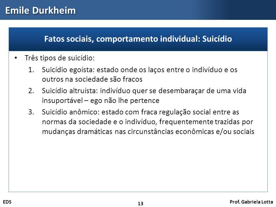 Fatos sociais, comportamento individual: Suicídio